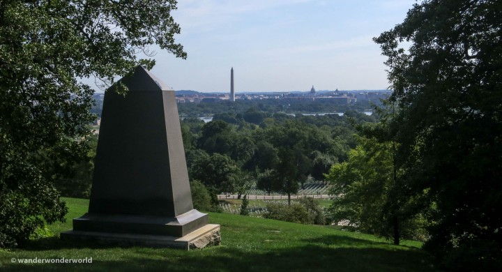 View of Washington Monument and the US Capital from Arlington National Cemetery